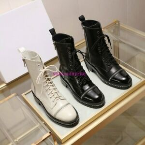 cow leather Rhinestone chain lace up boots casual shoes street women fashion2021