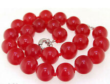 Beautiful Natural 12mm Red Jade Round Beads Necklace 18Inch JN1842