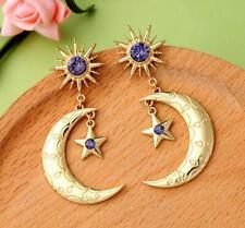 Betsey Johnson Fashion Rare Alloy Rhinestone Gold Star moon drop Earrings Jewel
