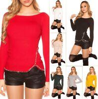 Enzoria Damen Pullover Strickpullover mit XL Strasssteinen