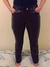 Womens Gap Bootcut 100% Leather Trousers Size UK 10 US 6 Colour Dark Brown