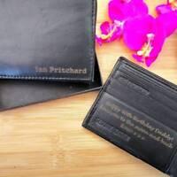 Personalised Engraved Wallet + GIFT BOX Leather Dad Grandad Mens Men's Christmas