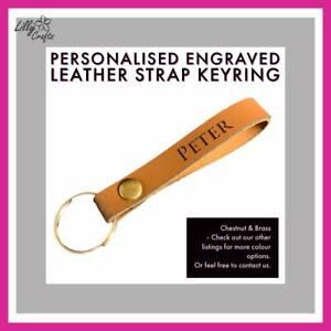 Personalised Engraved Leather Keyring - Chestnut