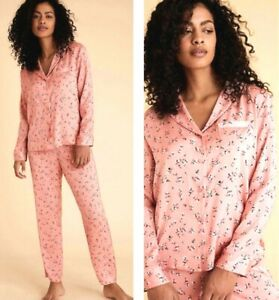 Ladies M*S Satin Pyjamas Women's Pink Floral Silky Summer Nightwear Plus NEW