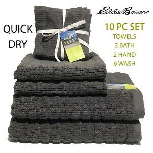 10 PC SET New Eddie Bauer QUICK DRY Cotton Wash Hand Bath Towels Preston Dk Gray