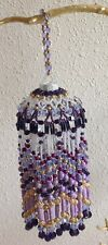 Fringed Ornament in Purple, Gold and Lavender - Handmade with Swarovski Elements