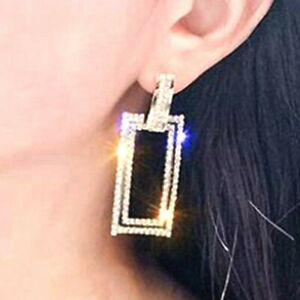 Very Sparkling Big Diamante Rhinestone Silver Or Gold Square Bling Earrings *UK*