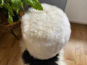100%Genuine Luxury Sheepskin Pouffe FootStool Real Sheepskin Elegant Natural Fur