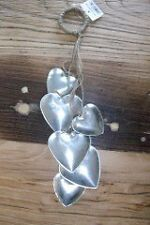 Cluster of 6 Metal Hearts