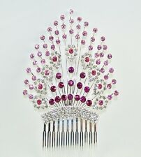 Pink and Crystal Hair Comb