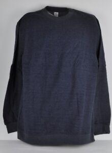 Dark Blue Cotton Polyester Long Sleeve Plain Blank Sweater Large Sweatshirt