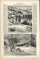 VINTAGE WOODCUT PRINT - SNOW-PLOW CLEARING THE WAY - CENTRAL PACIFIC RAILWAY