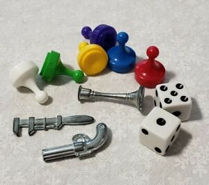 Clue Board Game 3 Weapons 6 Pawns 2 dice Replacement Pieces Parts Lot Part