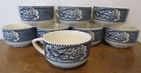 Vintage Royal China Currier and Ives, Blue Transferware - Set of 8 Cups Mugs