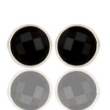 Black Onyx Round Cut Designer Stud Earrings Brass Fashion Jewelry