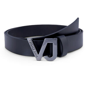 Men's Versace Belt Black Leather Belt With Signature Silver Buckle || Brand New