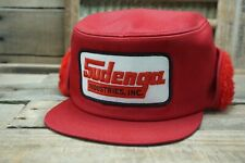 Vintage SUDENGA Winter Flap Snapback Trucker Cap Hat Patch K PRODUCTS Made USA