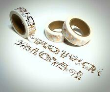 Washi Tape Sample 15mm x 1m Weiss Glitzer Katze Rose Gold Nr.19