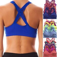 Seamless Caged Criss Cross Strappy YOGA Workout SPORTS BRA Top Bra Bustier Pads