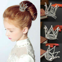 Mini Crown Tiara Hair Combs Clear Rhinestones Crystal Pageant HOT Party. Br C4S5