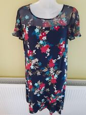 MONSOON BLUE & FLORAL A LINE  DRESS. VISCOSE WITH STRETCH size 12 VGC. WORN ONCE