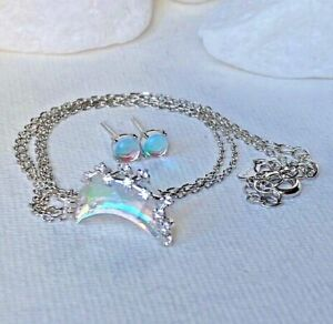 925 Sterling Silver Set Necklace Chain Moon Pendant Earrings Rainbow Moonstone