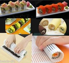 JAPANESE KITCHEN SUSHI RICE ROLL MAKER PLASTIC TOOL ROLLER MAT KIT DIY MAKER SET
