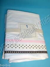 Pottery Barn Kids PBK Hannah Ribbon Bed Dorm Sheets Set Queen Pink Dot