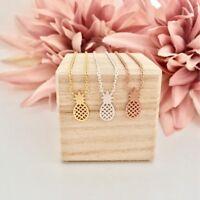 Halskette Damen Halsketten Ananas Frucht Symbol Gold Silber Rosegold Edelstahl