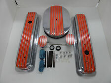S B CHEVY TALL CENTER BOLT ORANGE  FIN VAL COVER / HALF FIN AIR CLEANER COMBO