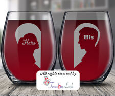 His & Hers Stemless Wine Glass, Happy Anniversary Personalized Gift, Valentine