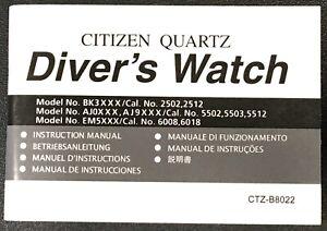 Citizen Instruction Manual Diver Watch Cal. 2502 2512 5502 5503 5512 6008 6018