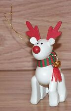 Unbranded Wooden Red & White Reindeer Christmas Tree Ornament **READ**