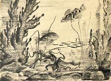 Poisson poulpe encre signée Elsa Desportes peintre animalier  circa 1961