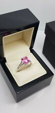 9ct white gold pink sapphire and 100% natural diamond  cushion cut ring freepost