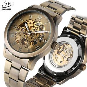SHENHUA Steampunk Dial Men's Mechanical Automatic Self-Winding Wrist Watch Gift