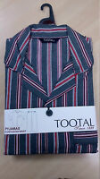 Tootal Mens Grey & Red Striped Poly/Cotton Elasticated Waist Pyjama L - XXL