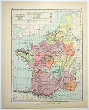 Vintage Map of France at the Accent of Louis XI in 1461 by Longmans Green 1902