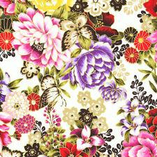 Fat Quarter Asian Garden Butterflies Floral Cotton Quilting Fabric  Fabri Quilt