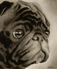 Black Pug Art Print Sepia Watercolor 11 x 14 by Artist DJR