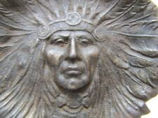 Old Cast Iron Native American Indian Chief Tray with Handle Card Tip Trinket