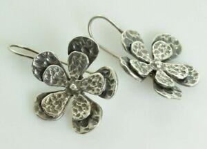 Hammered Double Flower Dangle Earrings in Sterling Silver