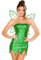 Tinkerbell Womens 2pc Mischievous Pixie Fairy Dress & Wings Costume