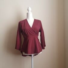 Free People Size Small Mulberry Grand Piano Wrap Blouse