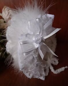 Various Baby Traditional Hand Knitted Crochet Bonnet Hat Lace Marabou Frill NB-6