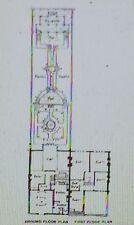 A Terrace House, Ground Floor Plan, M H Baille Scott, Magic Lantern Glass Slide