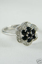 DIAMOND & SAPPHIRE FLOWER DESIGN RING ON SILVER BAND L