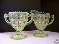 Imperial Glass Beaded Block Cream & Sugar Set Vaseline Canary Opalescent (CS150)