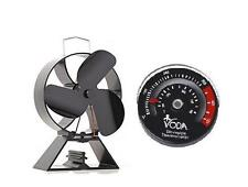 Eco 3-Blade Heat Powered Stove Fan For Wood Log Burners + Free Stove Thermometer