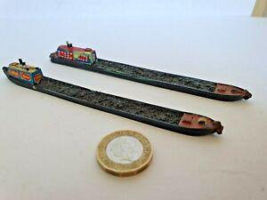 LANGLEY N GAUGE  2 x CANAL BOATS PAINTED METAL 14.5CM LONG